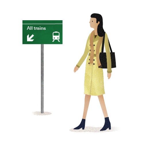 Lady and Sign Board